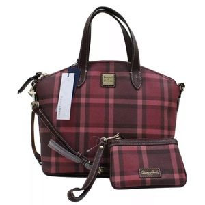 Dooney & Bourke Red Plaid Satchel Bag w/ Wristlet